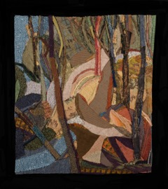 Rosy Dawn, 2008, fabric and mixed media on paper, 22 ½ x 19 ¼ inches (Collection of Walton Arts Center)