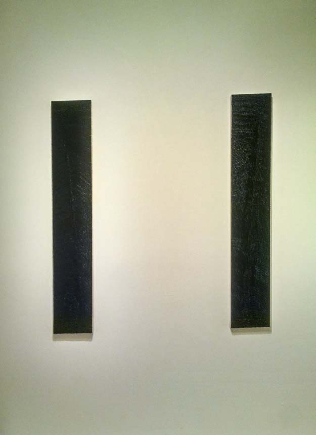 installation view, Notcturne I and II both oil on wood panel, 54 x 9 inches, 2014