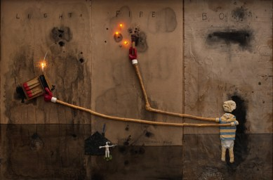 Boy Lights Fire, 2010, Mixed media on cardboard