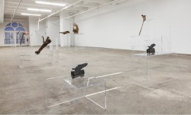 Allora & Calzadilla, Intervals, 2014. Re-configured acrylic lecterns and dinosaur bones. Dimensions variable. Courtesy of the artists. In collaboration with The Fabric Workshop and Museum, Philadelphia. Photo credit: Carlos Avendaño.