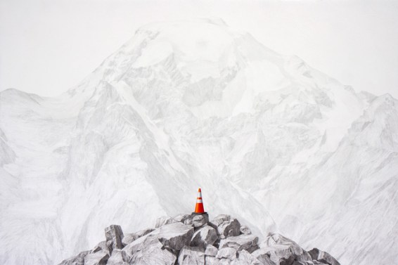 "Beacon, charcoal, graphite, oil on panel, 36"" x 24"" 2014"