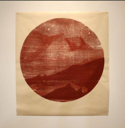 Tondo ( rock) - woodblock print on Kitakata, 34 inch diameter circle, 2015