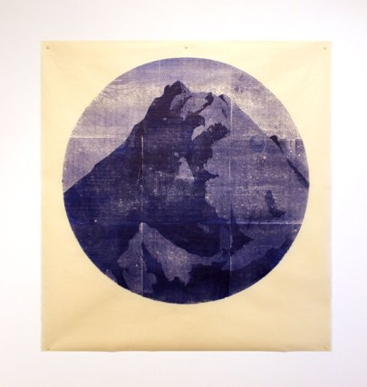 Tondo ( sand) - woodblock print on Kitakata, 34 inch diameter circle, 2015