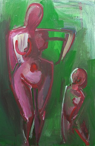 """Woman and Child,"" Aissulu Kadyrzhanova, Acrylic on canvas, 72""x48"""