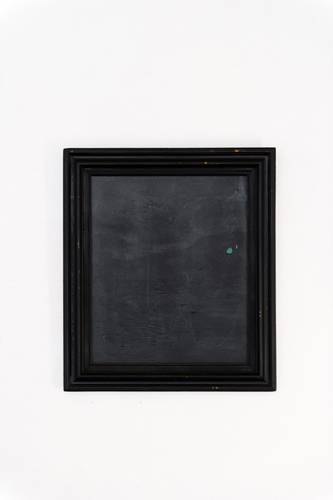 "Christopher Capriotti, ""Quiet"", 2015. Sprayable Rubber Sealant on found oil painting, 31""x27"""