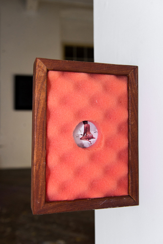 "Casey Poehlein, Untitled, 2015. Wooden frame, foam, digital photographic print, 7""x""10""x2"""