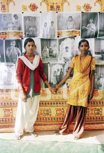 Manju and Parvati, 2010. Gauri Gill, Indian, born 1970. Digital print on glass, Sheet: 10 × 6 1/2 inches (25.4 × 16.5 cm). Courtesy of the artist and Thomas Erben Gallery, New York.
