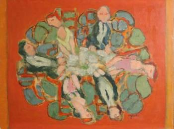 Harry Sefarbi, Dinner Party, oil on panel.