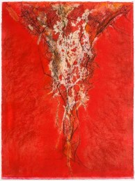 Christine Stoughton, Seeker, monotype, collage, and pastel, 2013.