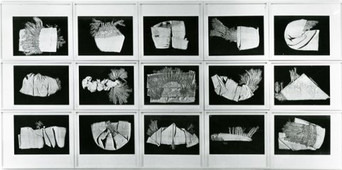 "Understanding Your Chinese Scarf, 1983, 15 black & white copier prints, original mats, entire grid: 48"" x 98"", each print: 11 1⁄8"" x 15 3⁄4""; Courtesy Estate of Pati Hill"