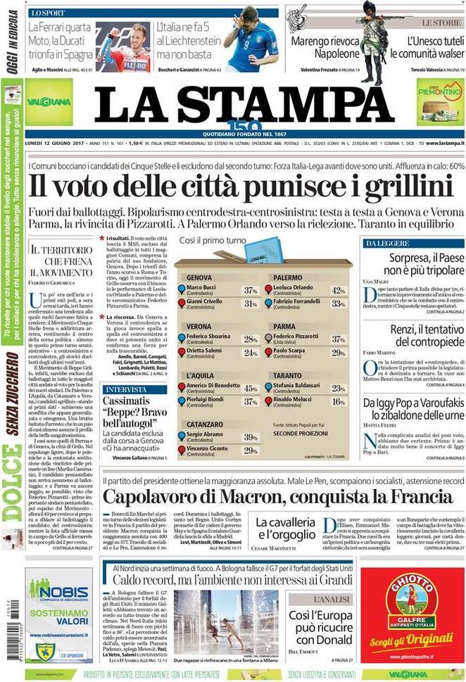 Prima pagina del 12 giugno: i quotidiani di oggi in edicola