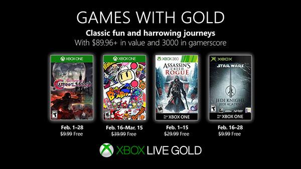 Xbox: annunciati i Games With Gold di Febbraio 2019