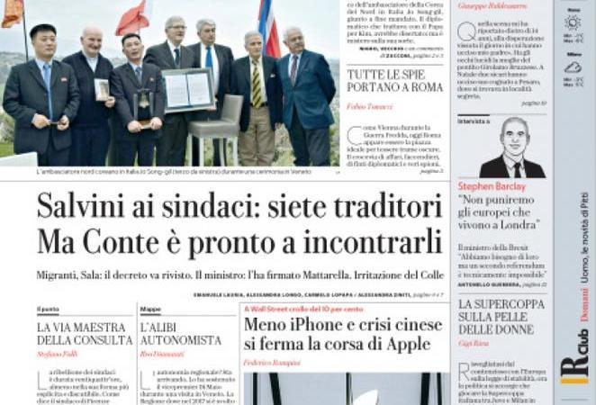 Rassegna stampa 4 gennaio: i sindaci contro Salvini