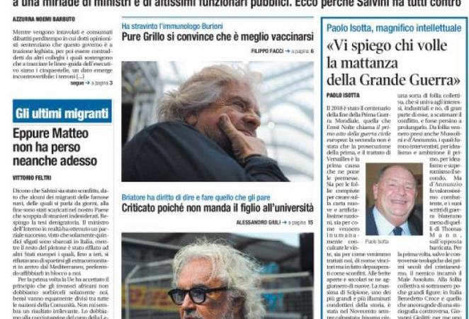 Rassegna stampa 11 gennaio: i terroni in prima pagina di Libero e il caos Lega-5Stelle
