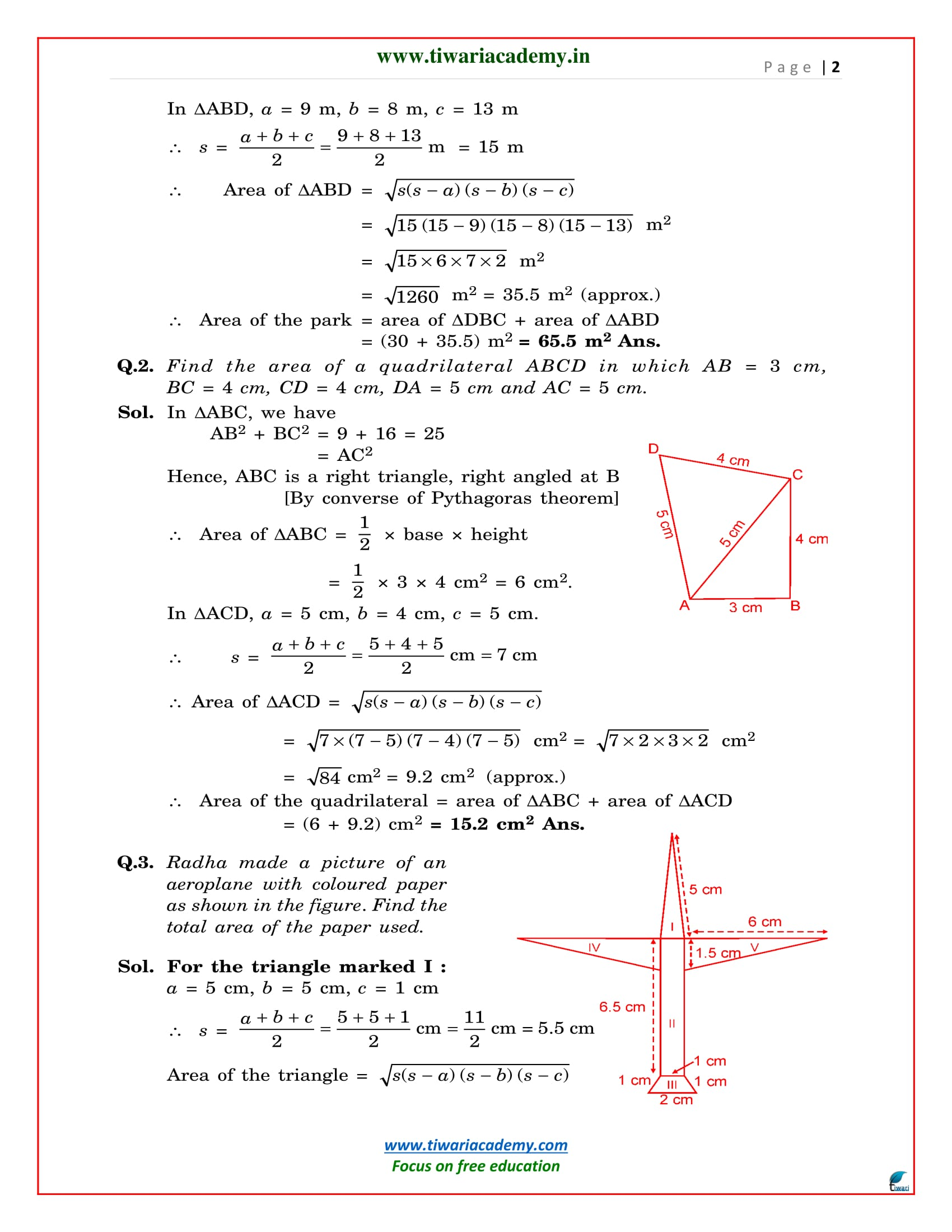 Ncert Solutions For Class 9 Maths Chapter 12 Heron Formula 12 1 12 2