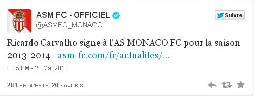 Tweet de l'AS Monaco présentant Ricardo Cavalho