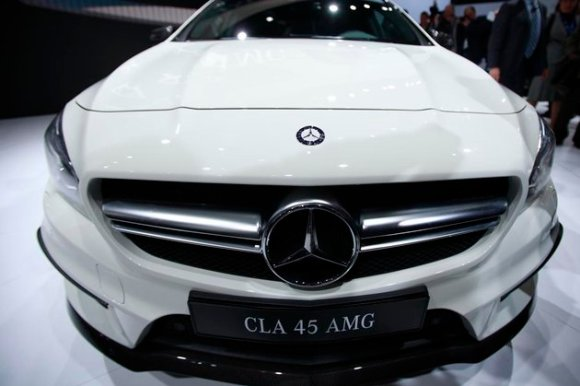 Mercedes-Benz CLA 45 AMG is seen on stage following a news conference at the New York Auto Show in New York