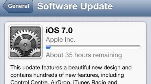 Photo posté pour décrire la lenteur du téléchargement de l'IOS 7