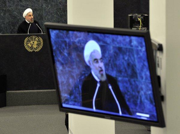 Le président iranien Hassan Rouhani s'adresse à l'Assemblée générale des Nations Unies.