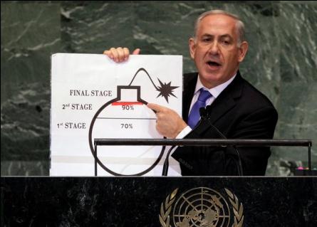 Le Premier ministre israélien Benjamin Netanyahu utilise une illustration pour décrire ses préoccupations au sujet des ambitions nucléaires de l'Iran.