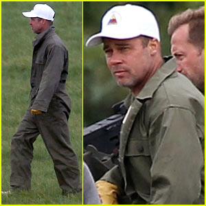 Brad Pitt avec sa nouvelle coupe dans le film, Fury