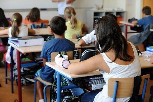 Des enfants à l'école le 3 Septembre 2013 dans une école primaire dans le sud-ouest français ville de Ramonville.