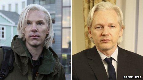 Le mois dernier Cumberbatch (à gauche) a déclaré qu'il considérait quitter le film après avoir reçu le courriel de Julian Assange (à droite)