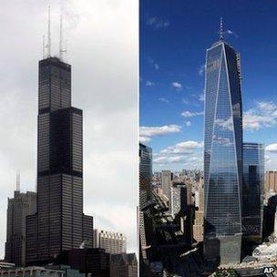 La Willis Tower (à gauche) a perdu le titre de plus haut bâtiment de l'Etats-Unis face au One World Trade Center