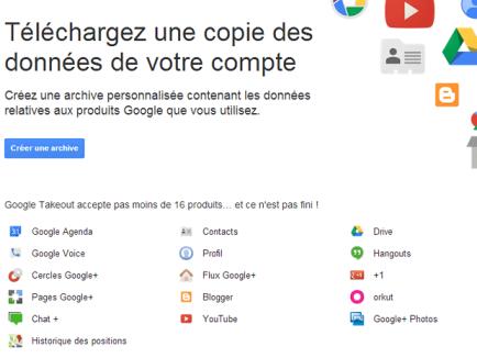Google Takeout : les données de Gmail et du Calendrier téléchargeables
