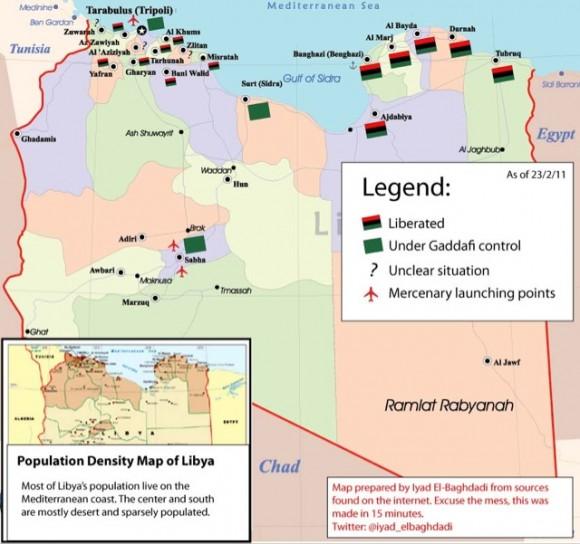 Carte de la libération des villes libyennes