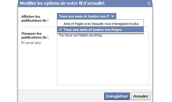 Étape 2 - Facebook : choisir l'actualité à afficher