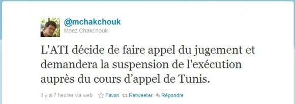 Tweet de M. Moez Chakchouk