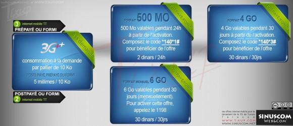 """Les offres """"Internet mobile"""" pour le lancement de la 3G par Tunisie Telecom"""
