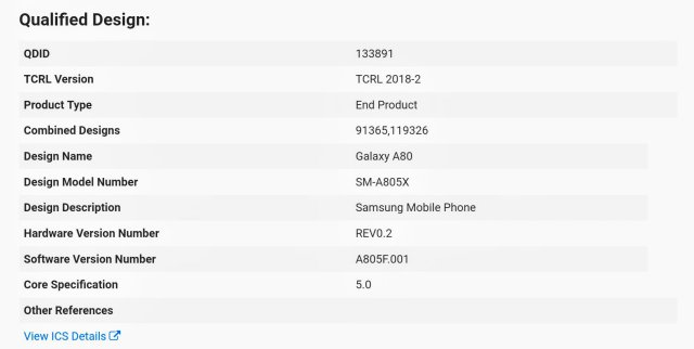 Galaxy A80 Certification