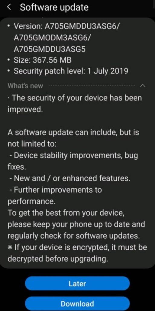 Galaxy A70 July Update