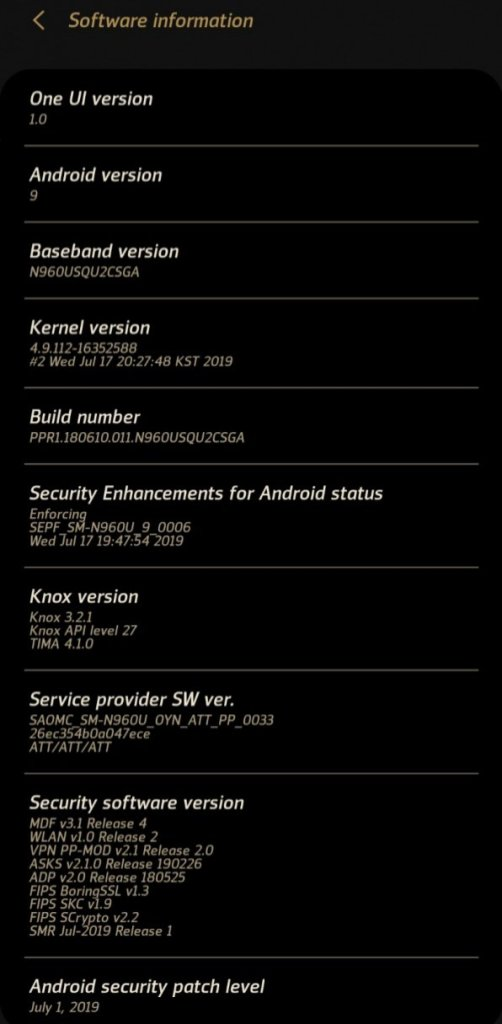 AT&T Galaxy Note 9 Update