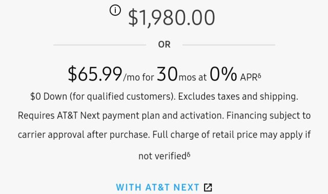 AT&T Galaxy Fold Plans