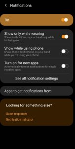 Notifications on Galaxy Fit 2