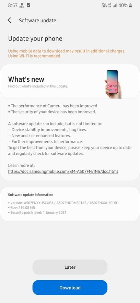 New Galaxy A50s Update