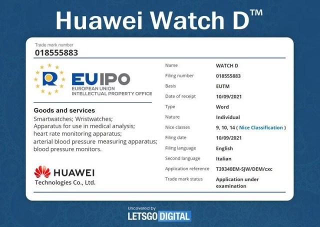 Huawei Watch D Leaked