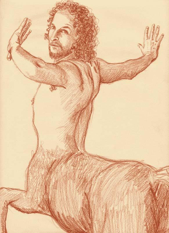 bozzetto preliminare per il dipinto Chirone, eseguito a sanguigna su carta da spolvero