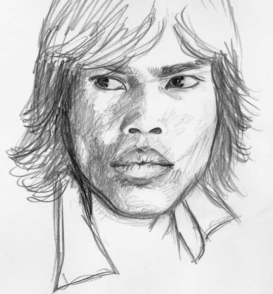 Guntur - sketch a matita su blocco appunti (in viaggio)