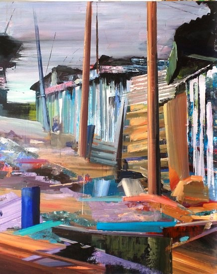 Niets te beleven in de buitenwijken. 2015. acryl op katoen. 60 x 50 cm