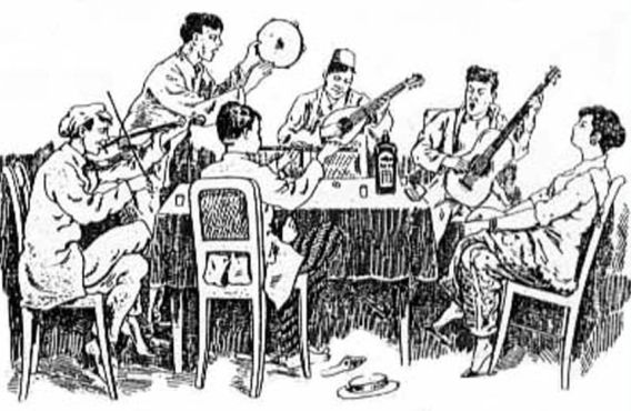 Orkes keroncong komunitas Indies di Batavia  (Ilustrasi: A.Th. Manusama (1919:12a))