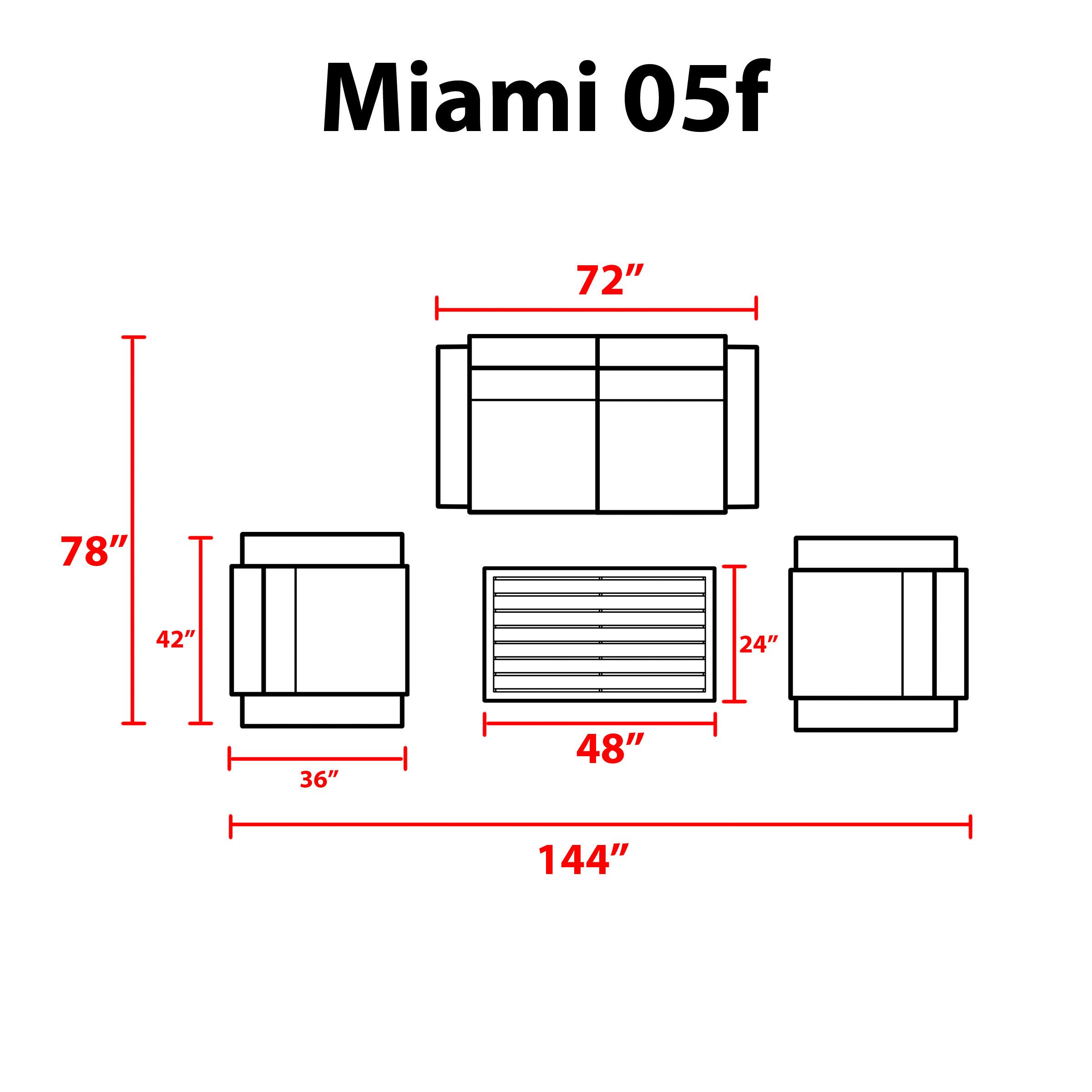 Miami 5 Piece Outdoor Wicker Patio Furniture Set 05f