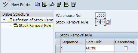 stock removal rule with SUOM