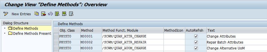 SAP EWM monitor methods