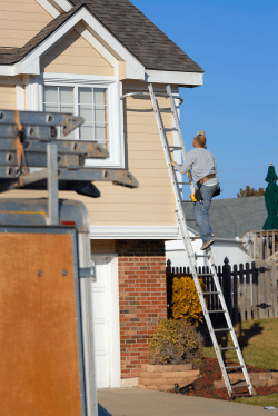 Workman climbs a ladder to fit replacement guttering on a house.
