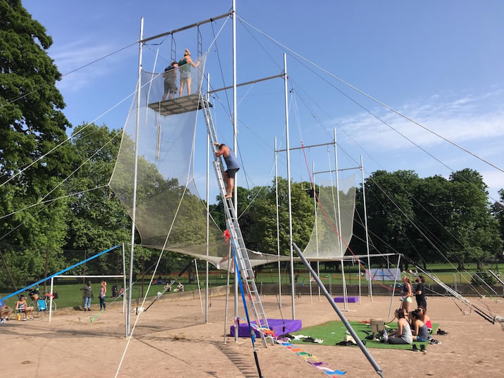 Trapeze rigging being set up