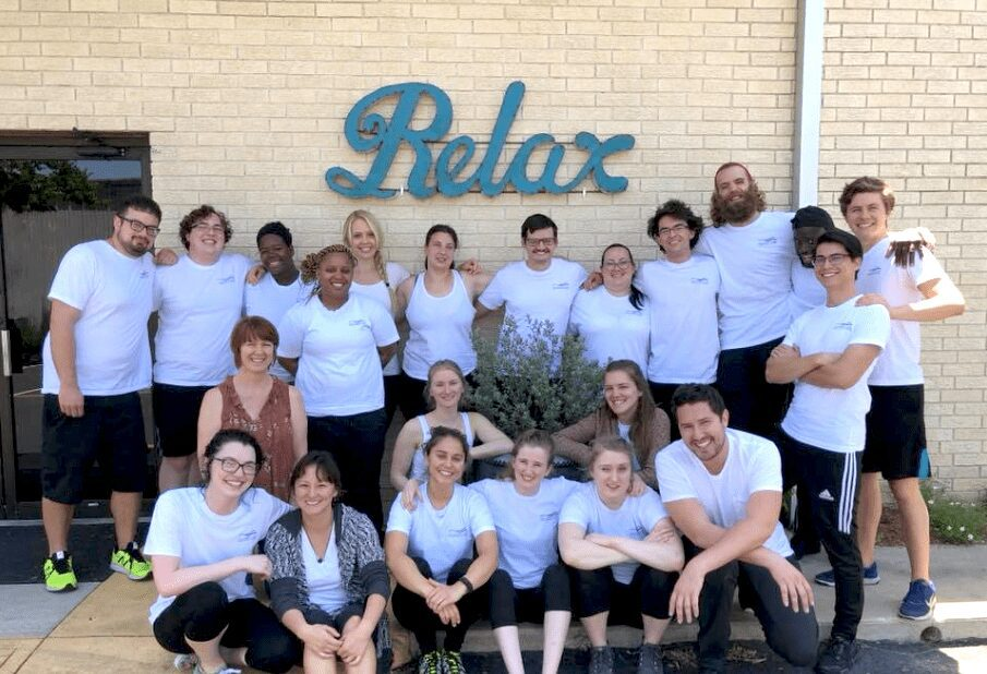 Austin massage school students relax after a day of massage therapy training at our massage school in Austin.